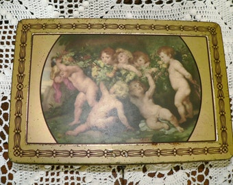 Antique / vintage French Belgian biscuit tin decorated with cherubs/ putti - with key - Ancienne coffret boite a biscuits en tole - avec cle