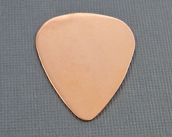 Ten Copper Guitar Pick Blanks, 22 Gauge Stamping Blanks, Tumbled for Hand Stamping