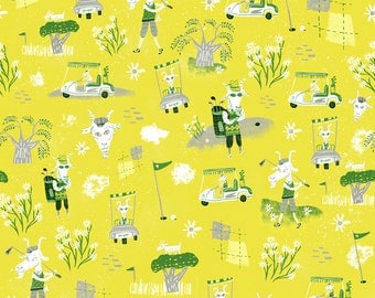 Goats on the green. A giclee print of an original illustration.