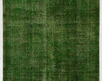 "Overdyed Rug 3'6"" x 6'4"" (108 x 195 cm) Turkish Handmade Rug, Green Overdyed Rug"