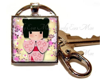 Kokeshi Doll Keychain with Clip, Key Fob with Clasp, Kawaii Keychain, Floral Key Ring, Japanese Girl, Yellow and Pink, Oriental, Asian Washi