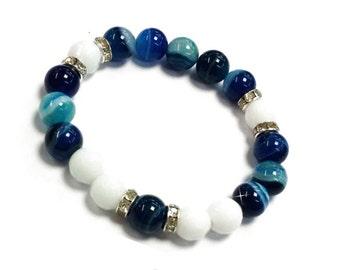10mm Blue Agate Bracelet, Blue Banded Agate Bracelet, Blue Stretch Bracelet Womens, Blue Beaded Bracelet Gift, Agate Stone Jewelry Bracelet