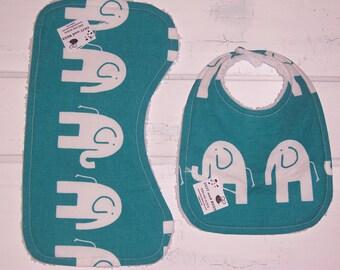 Fun Teal Elephant Baby Bib and Burp Cloth !  FREE SHIPPING !!!!!!