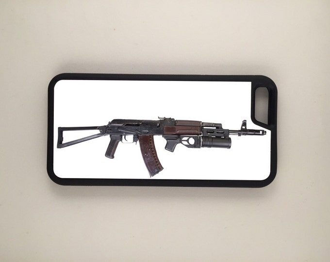 AK47 with grenade launcher iPhone Galaxy Note LG HTC Protective Hybrid Rubber Hard Plastic Snap on Case Black