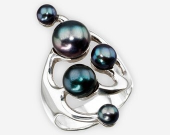 Sterling Silver Asymmetrical Pearl Ring