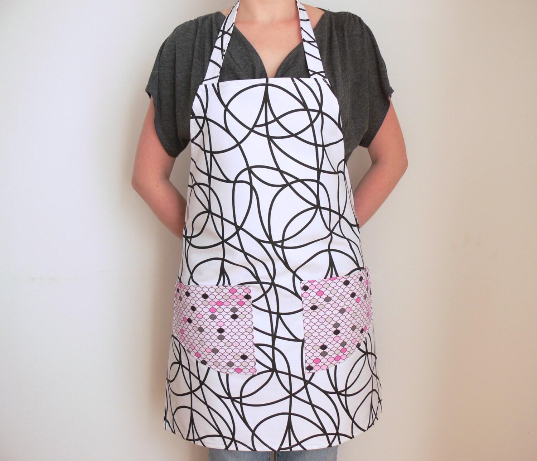 White Black Cotton Apron Womens Aprons Kitchen Apron Full