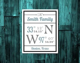 Housewarming gift, wedding gift, wall decor, latitude and longitude coordinates, customized family home coordinates, digital download