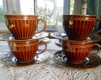 Coventry Parthenom Dark Brown Stoneware 4 Large Mugs & Saucers Hold a Large Cup of Coffee Tea Free Shipping