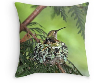 Hummingbird Cushion, Hummingbird Decor, Bird Cushion, Hummingbird Pillow, Gift for Mom, Nature Cushion, Bird Throw Pillow, Bird Nest