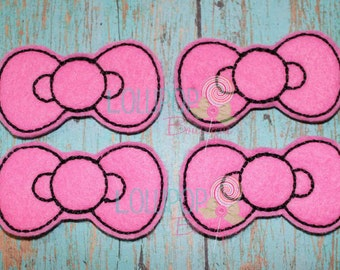 Hot Pink Bow Felties - Felties - Felt Appliques - Set of 4