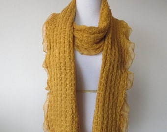 Lace Edge Scarf  Mustard Yellow Color