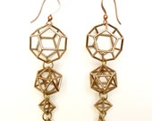 Platonic Solid Earrings-Bronze