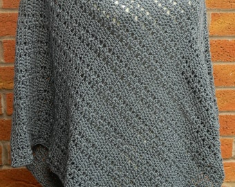 Crocheted Poncho in Slate Grey