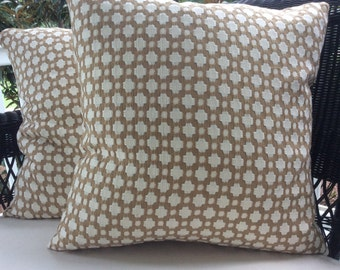 Schumacher BETWIXT Pillow Cover in Biscuit Brown and White Woven, Coordinating Linen Backing
