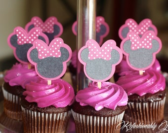 Minnie Mouse inspired cupcake toppers , Minnie Mouse inspired decoration party