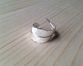 Silver plated brass feather ring