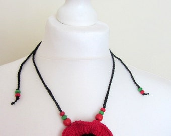 Crocheted red poppy necklace