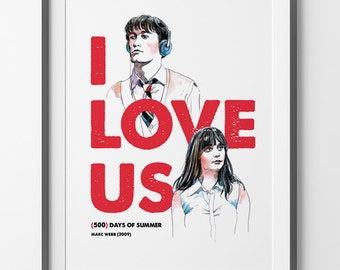 500 (500) Days of Summer 500 días juntos Zooey Deschanel, Joseph Gordon-Levitt, 500 days of summer poster illustration wall art print