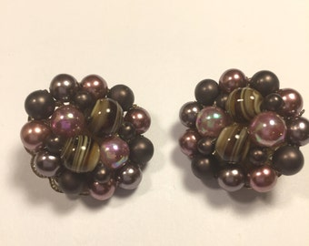 Purple and Brown swirl clip on earrings signed Japan ~ shades of purple and lavender
