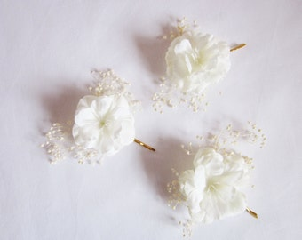 Bobby Pins, White Cherry Blossom Flower with ivory baby's breath  / three, clips, nature,   spring, flower, hair, accessory, ivory