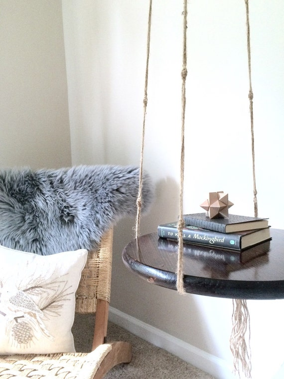 Hanging Side Table Floating Night Stand Macrame End