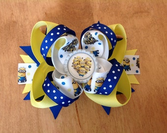 Minions Stacked Hair Bow, Yellow & Blue Stacked Hair Bow