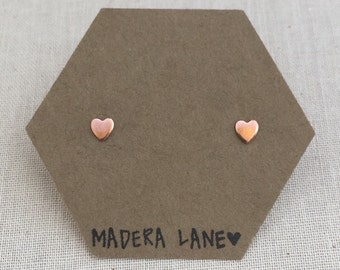 Tiny Heart Stud Earrings in Copper with Sterling Silver Posts