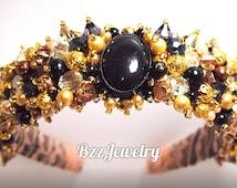 Baroque Gold Headband and bead embroidered headband, wedding  bridal crown, DG headband, handmade headband, beadwork hairrim dolce gabanna