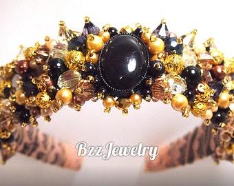Baroque Gold Headband and bead embroidered headband, wedding bridal crown, DG headband, handmade headband, beadwork hairrim dolce gabbana