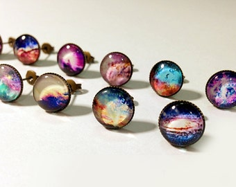 Nebula Stud Earrings,Galaxy Earrings,Planet Earrings Posts,Small Earrings,Space Jewelry,Galaxy Jewelry