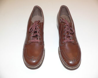 1940s Boys Red Goose Shoes , Brown With Laces, New Never Worn