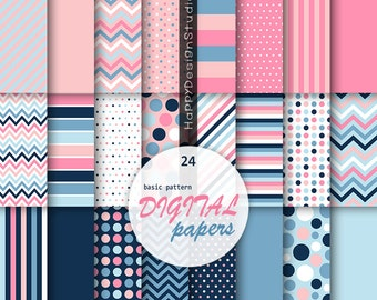 Blue and pink digital paper scrapbooking papers party baby girl shower card making supplies stripe dot chevron solid navy blue cute lovely