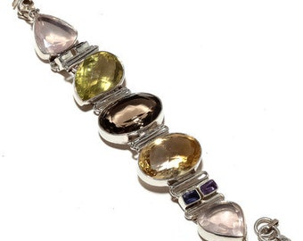 92.5 Sterling Silver multi semiprecious stone party bracelet 25% discount world wide free shipping.