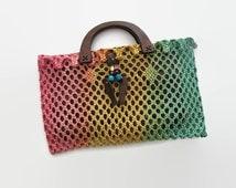 Vintage Thailand handbag, Thailand top handle bag, top handle bags, rainbow bag, wood handbag, woven Thailand bag, woven top handle bag