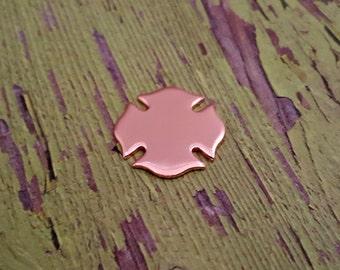 """Copper 7/8"""" Firefighter/ Maltese Cross Stamping Blanks - 18 Gauge Copper Blanks"""