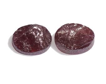Rhodolite Garnet Oval Rough Cut Loose Gemstones Set of 2 1A Quality 7x5mm TGW 2.80 cts.