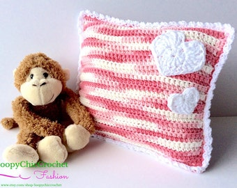 On Sale Pink & White Crochet Baby Pillow with Hearts