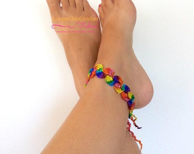 Rainbow Colored Crochet Ankle Bracelet, Anklet