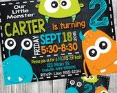 monster birthday invitation, monster invitation, monster party invitation, monster birthday, chalkboard invitation, personalized, printable