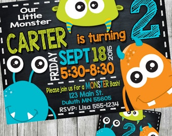 monster birthday invitation, monster invitation, monster party invitation, monster birthday, chalkboard invitation, personalized, printable