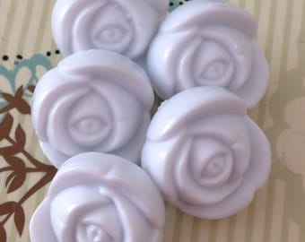 5 White Rose Buttons - with shank, flower, flowers, novelty button