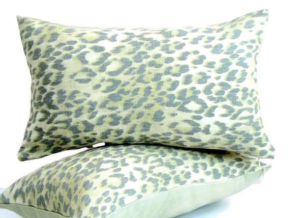 Animal Print Lumbar Pillows : Lumbar Leopard throw pillow cover 12x20 Linen by SABDECO on Etsy