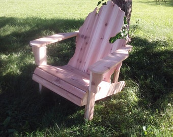 ROUGH KIT Michigan Adirondack Chair kit Handmade Wood Furniture Rustic patio Cedar UNSANDED unfinished - minecraft