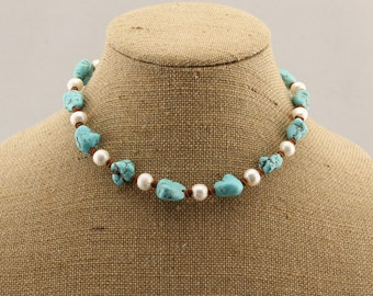 white pearl blue turquoise necklace,leather cord knitting necklace,45 cm gemstone necklace,ETS-S319