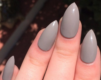 Fake nails, taupe nails, stiletto nails