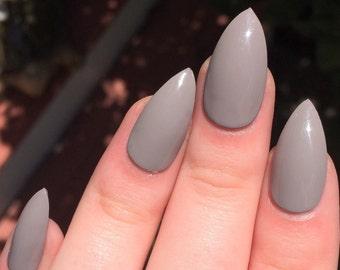 Fake nails, taupe nails, stiletto nails
