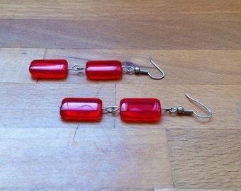 Long red czech glass earrings