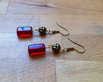 Dark red czech glass and antique gold dangle earrings