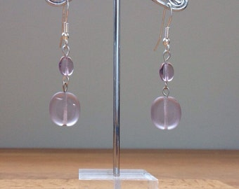 purple resin glass earrings