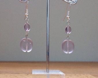 purple resin glass earrings